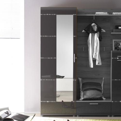 neu edler kleiderschrank hochglanz anthrazit kernbuche flurschrank garderobe ebay. Black Bedroom Furniture Sets. Home Design Ideas