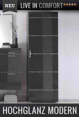 neu garderoben kleiderschrank in hochglanz anthrazit flurschrank dielenschrank ebay. Black Bedroom Furniture Sets. Home Design Ideas