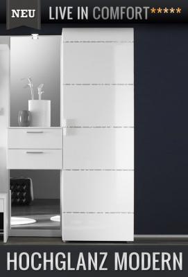 neu edler garderoben kleiderschrank in hochglanz wei flurschrank dielenschrank ebay. Black Bedroom Furniture Sets. Home Design Ideas