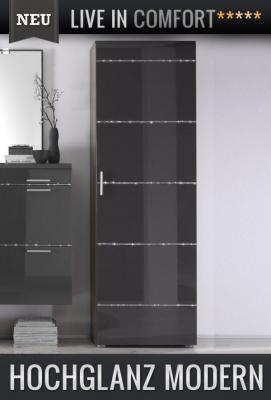 neu edler kleiderschrank hochglanz anthrazit walnuss flurschrank garderobe ebay. Black Bedroom Furniture Sets. Home Design Ideas