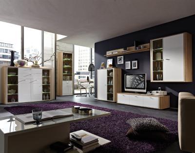 neu wohnwand hochglanz wei sonoma eiche highboard lowboard vitrine schrankwand ebay. Black Bedroom Furniture Sets. Home Design Ideas