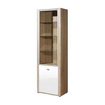 neu standvitrine hochglanz wei sonoma eiche wohnwand vitrine vitrinenschrank ebay. Black Bedroom Furniture Sets. Home Design Ideas
