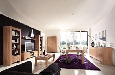 ... NEU 8 Tlg Wohnzimmer Esszimmer Nussbaum Wohnwand Couctisch