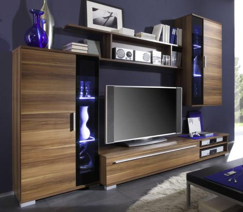 wow moderne wohnwand nussbaum glas schwarz vitrine lowboard regal anbauwand ebay. Black Bedroom Furniture Sets. Home Design Ideas