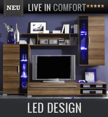 wow moderne wohnwand nussbaum glas schwarz vitrine lowboard regal anbauwand ebay. Black Bedroom Furniture Sets. Home Design Ideas