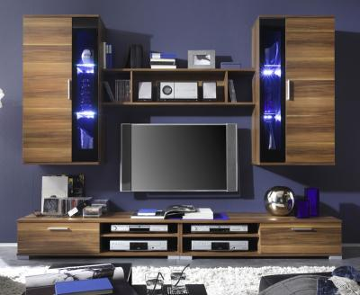 wow led wohnwand in nussbaum schwarz schrankwand anbauwand vitrine lowboard ebay. Black Bedroom Furniture Sets. Home Design Ideas