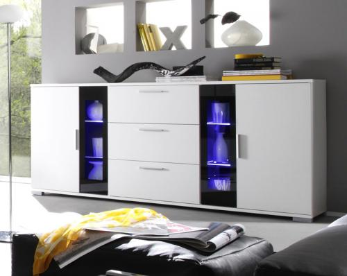 wow modernes sideboard wei mit schwarzem glas anrichte. Black Bedroom Furniture Sets. Home Design Ideas