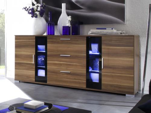 wow modernes led sideboard nussbaum lack schwarz vitrine highboard anrichte ebay. Black Bedroom Furniture Sets. Home Design Ideas