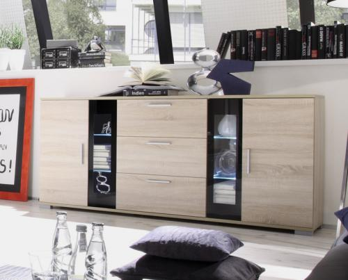 wow modernes led sideboard eiche sonoma schwarz. Black Bedroom Furniture Sets. Home Design Ideas