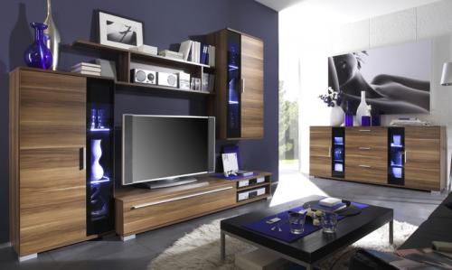wow wohnwand sideboard in nussbaum schwarz wohnzimmer anbauwand uvp 699 00 ebay. Black Bedroom Furniture Sets. Home Design Ideas