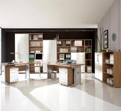 NEU* 13tlg Komplett Büro Büromöbel Nussbaum - Crema Schreibtische ...