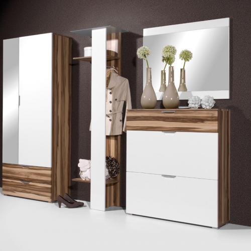 neu 4 tlg flur garderobe hochglanz weiss walnuss schuhschrank kleiderschrank ebay. Black Bedroom Furniture Sets. Home Design Ideas