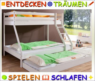 neu 4 platz hochbett buche in weiss doppelbett etagenbett kinderbett jugendbett ebay. Black Bedroom Furniture Sets. Home Design Ideas