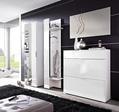 neu garderoben set 4tlg mit wei er glasfront schuhschrank flurgarderobe paneel ebay. Black Bedroom Furniture Sets. Home Design Ideas