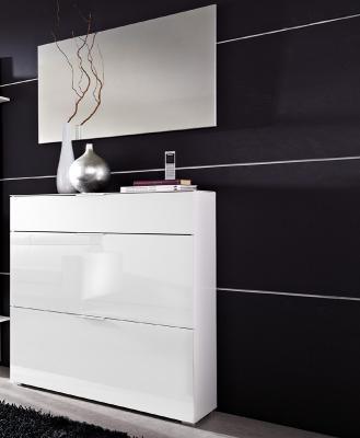 Top 2 tlg garderoben set mit wei er glasfront spiegel for Weisser schuhschrank