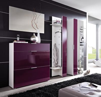 top 4tlg garderobe in wei mit brombeer glasfront schuhschrank spiegel paneel ebay. Black Bedroom Furniture Sets. Home Design Ideas