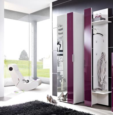 neu 2tlg garderobe wei brombeer glasfront. Black Bedroom Furniture Sets. Home Design Ideas