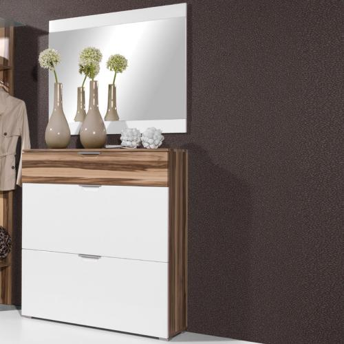 top 2 tlg garderobe walnuss hochglanz weiss schuhschrank schuhkipper spiegel ebay. Black Bedroom Furniture Sets. Home Design Ideas