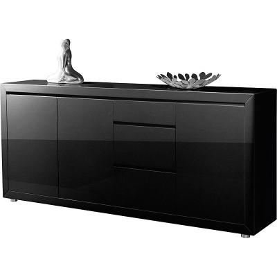 neu edles sideboard in hochglanz schwarz lackiert kommode wohnzimmer anrichte ebay. Black Bedroom Furniture Sets. Home Design Ideas