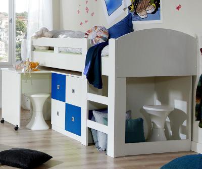 neu kinderzimmer hochbett wei blau mit schreibtisch kommode jugendzimmer ebay. Black Bedroom Furniture Sets. Home Design Ideas