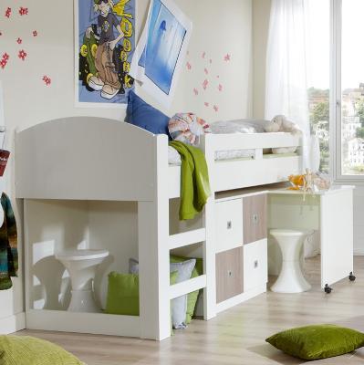 neu kinderzimmer hochbett wei eiche mit schreibtisch kommode jugendzimmer ebay. Black Bedroom Furniture Sets. Home Design Ideas