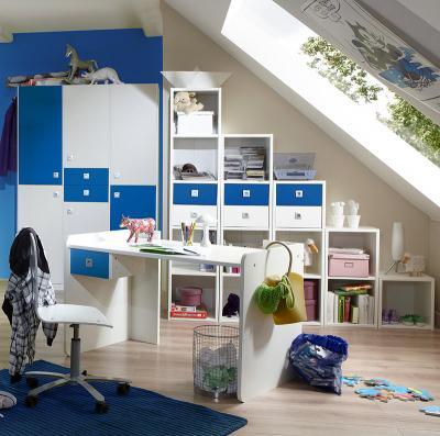 Neu 10tlg jugendzimmer wei blau kleiderschrank for Jugendzimmer blau