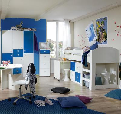 wow 3 tlg jugendzimmer wei blau hochbett kleiderschrank kommode kinderzimmer ebay. Black Bedroom Furniture Sets. Home Design Ideas