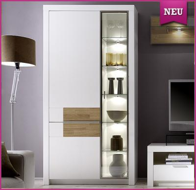 neu edle vitrine montiert lack wei eiche s gerau. Black Bedroom Furniture Sets. Home Design Ideas