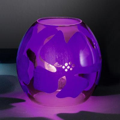 wow moderne tischleuchte glas lila mit bl tendekor tischlampe nachttischlampe ebay. Black Bedroom Furniture Sets. Home Design Ideas
