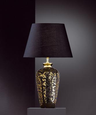 wow 57cm edle tischleuchte keramik schwarz gold. Black Bedroom Furniture Sets. Home Design Ideas