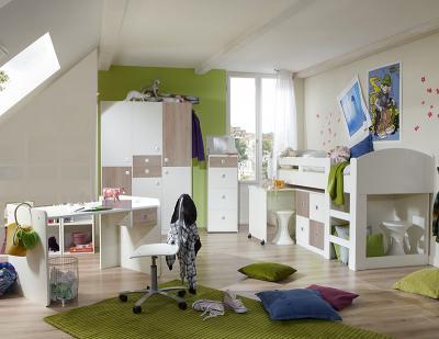 Wow 4tlg jugendzimmer wei eiche s gerau hochbett for Jugendzimmer 4tlg