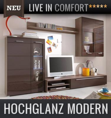 neu 4tlg wohnwand hochglanz braun eiche tr ffel. Black Bedroom Furniture Sets. Home Design Ideas