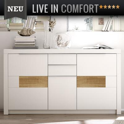 neu edles highboard montiert in lack wei eiche s gerau buffet sideboard ebay. Black Bedroom Furniture Sets. Home Design Ideas