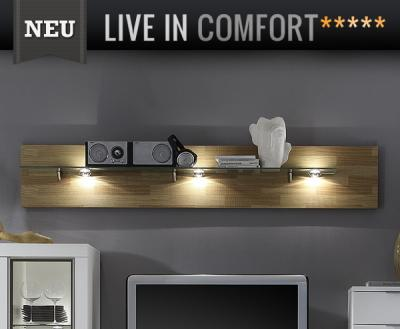neu design wandboard eiche s gerau funier ge lt h ngeregal wandregal led regal ebay. Black Bedroom Furniture Sets. Home Design Ideas