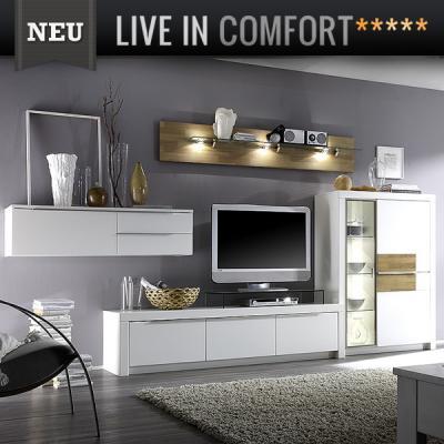 neu edle wohnwand 4 tlg lack wei eiche s gerau montiert wohnzimmer anbauwand ebay. Black Bedroom Furniture Sets. Home Design Ideas