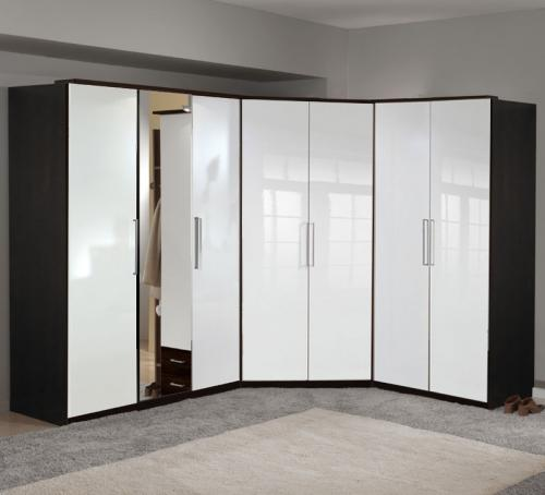 wow eckkleiderschrank hochglanz weiss wenge. Black Bedroom Furniture Sets. Home Design Ideas