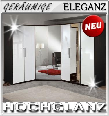 Eckkleiderschrank mit spiegel  NEU* Eckkleiderschrank Hochglanz weiß - Wenge Eckschrank Spiegel ...