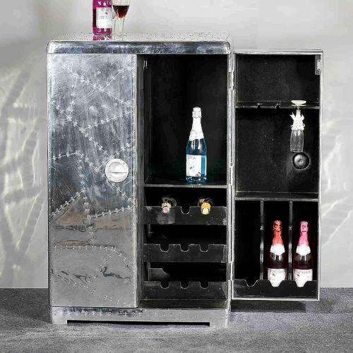 top design barschrank mit aluminium poliert weinregal. Black Bedroom Furniture Sets. Home Design Ideas