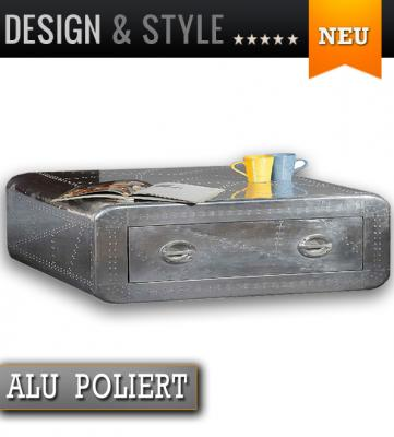 neu design couchtisch aluminium poliert 120x80cm beistelltisch wohnzimmertisch. Black Bedroom Furniture Sets. Home Design Ideas