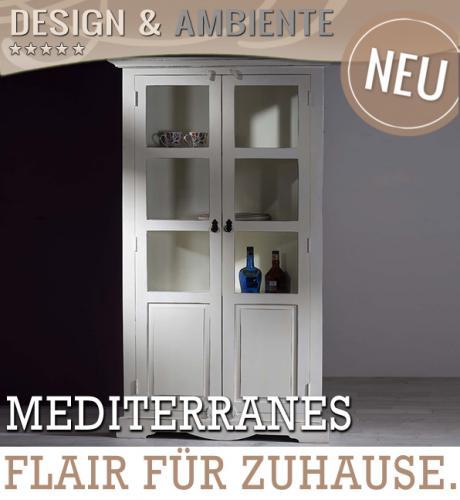 neu mediterrane vitrine antik wei im usedlook vitrinenschrank highboard buffet ebay. Black Bedroom Furniture Sets. Home Design Ideas
