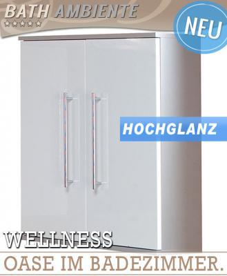 NEU* Hängeschrank Hochglanz weiß - alufarben Badschrank Wandschrank ...