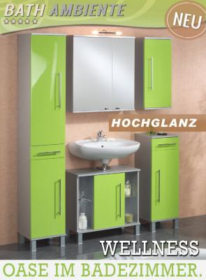 neu 5 tlg badezimmer set in hochglanz gr n alufarben spiegelschrank badm bel ebay. Black Bedroom Furniture Sets. Home Design Ideas