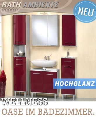 Badezimmer badezimmer set rot : WOW* 5-tlg Badmöbel Set in Hochglanz rot Spiegelschrank ...