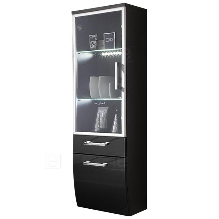 neu badezimmer hochschrank in hochglanz anthrazit led bad h ngeschrank badm bel ebay. Black Bedroom Furniture Sets. Home Design Ideas