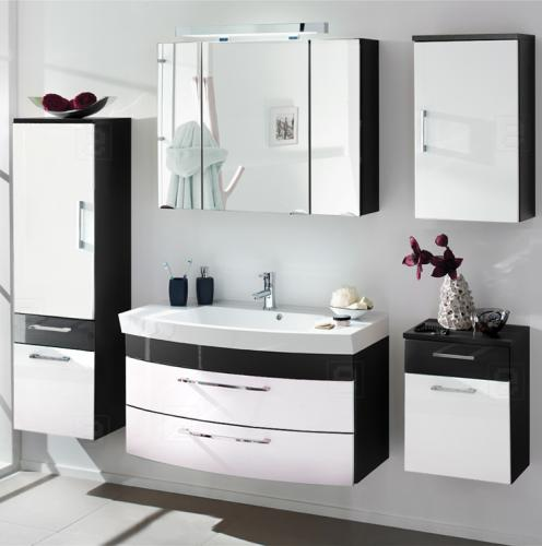 neu 5tlg badm bel set hochglanz anthrazit wei. Black Bedroom Furniture Sets. Home Design Ideas