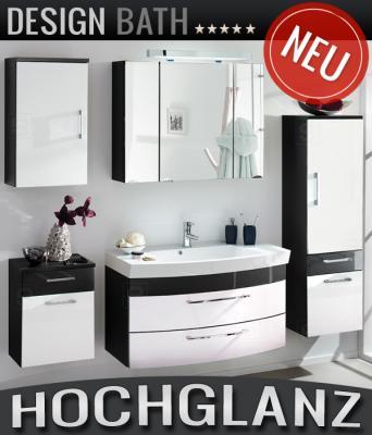 neu 5tlg badm bel set hochglanz anthrazit wei badezimmer bad spiegelschrank ebay. Black Bedroom Furniture Sets. Home Design Ideas