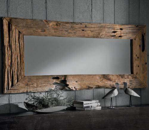 unikat design wandspiegel 180x80cm teak altholz flurspiegel garderobenspiegel ebay. Black Bedroom Furniture Sets. Home Design Ideas