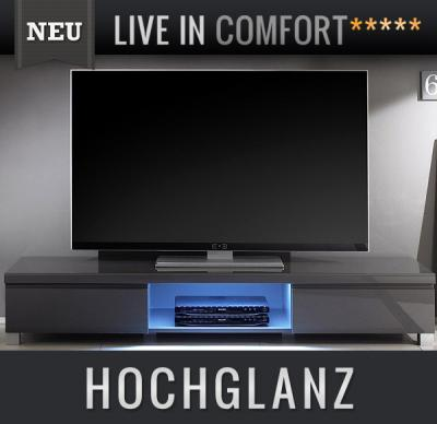 neu lowboard hochglanz anthrazit led tv lcd kommode sideboard fernsehtisch ebay. Black Bedroom Furniture Sets. Home Design Ideas