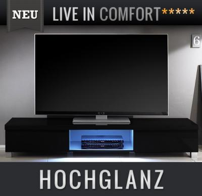 neu lowboard hochglanz schwarz mit led tv lcd kommode sideboard fernsehtisch ebay. Black Bedroom Furniture Sets. Home Design Ideas