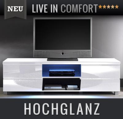 neu lowboard hochglanz wei lack led tv lcd kommode sideboard fernsehtisch. Black Bedroom Furniture Sets. Home Design Ideas